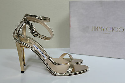 008d7accacf6 New sz 10   40 Jimmy Choo Daisy Gold Mirror Leather Ankle Sandal Peep Toe  Shoes