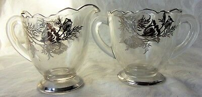 Vintage Sterling SIlver Depression Glass Tulips Floral Sugar & Bowl Creamer Set