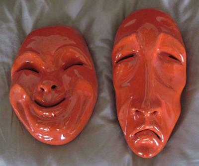 Frankoma Pottery Ada Clay Flame Wall Hanging Theatrical Comedy & Tragedy Masks