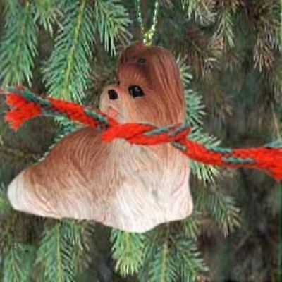 Small Resin SHIH TZU BROWN/WHITE Dog Breed Miniature Christmas Ornament