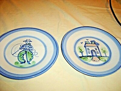 "MA Hadley 9"" Plates Cowboy with Lariat and Farm House. In good condition. 9663"