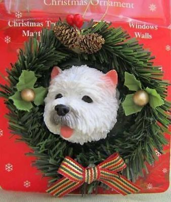 Wreath Xmas Ornament WESTIE Dog Breed Christmas Ornament RETIRED