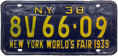 1938 NEW YORK WORLD'S FAIR license plate (GIBBY GOOD)