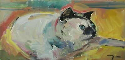 JOSE TRUJILLO OIL PAINTING Cat Kitty Family Impressionism MODERN Abstract nr