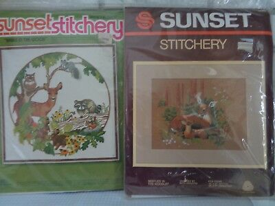 2 Sunset Stitchery Embroidery kits Babes in Wood & Nestled in Woodlet DEER NOS