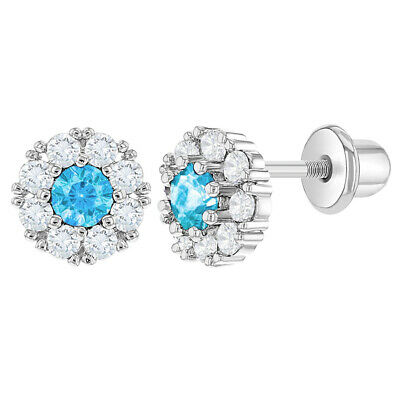 Rhodium Plated Light Blue Clear Crystal Flower Screw Back Baby Toddlers Earrings