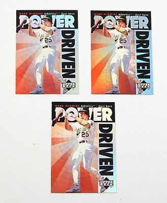 Lot of (3) 1996 Upper Deck Power Driven Mark McGwire #PD10 Nm/Mt BV $60