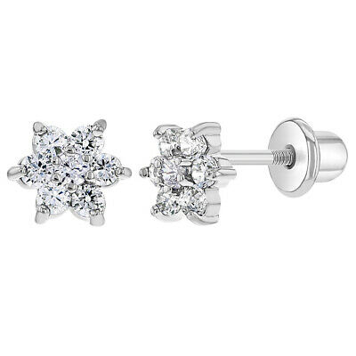 545239007 RHODIUM PLATED CLEAR Crystal Little Mouse Bow Screw Back Girls Kids ...