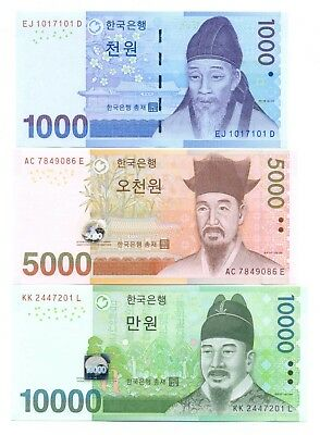 South Korea Set of 3 Notes 1000 (RADAR S/N), 5000, 10000 Won 2006-2007 UNC