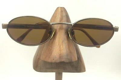 Vintage Revo 1130 010/11 Gold Metal Oval Brown Sunglasses Frames Italy