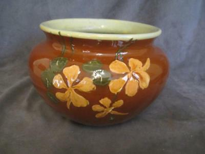WELLER DICKENS WARE #201 - Jardiniere Planter - Brown with Orange Flowers ks6