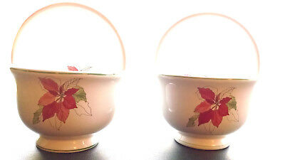 Set of 2 BLOCK SPAL Dinnerware Poinsettia Baskets for Nuts/Candy/Sauces/Gravy