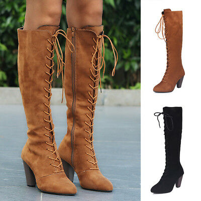 636cfc7026d2 Womens Suede Lace Up High Heel Thigh Over The Knee Wide Calf Boots Shoes  Size