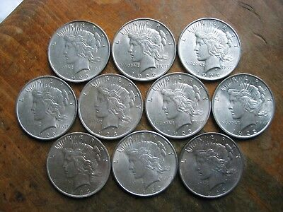 Lot Of 10 Very Nice Peace Dollars Mixed Dates