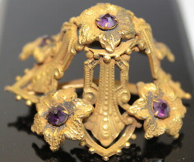 Antique Gold gilt & purple rhinestones metal part Fancy French Topper #894