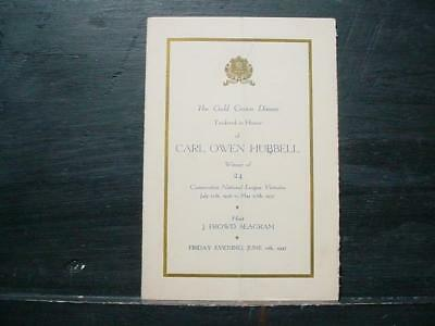 NobleSpirit NO RESERVE (3970) Signed 1937 Carl Hubbell Dinner Menu  w/ Others!