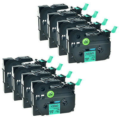 8 Pack TZ-741 Label Tape Black on Green TZe-741 For Brother P-touch PT-1880 18mm