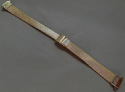 Old Stock NOS Vintage Gold Tone Stainless Steel Buckle Clasp 10-12mm Watch Band