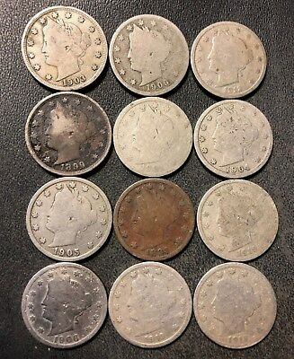 VINTAGE United States Coin Lot - LIBERTY NICKELS - 1883-1912 - Lot #D5