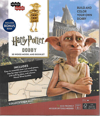 Harry Potter Movies Dobby 3D Laser-Cut Wood Model Kit and Deluxe Book NEW SEALED