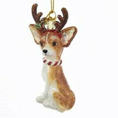 Glass Dog Ornament CHIHUAHUA w/Antlers Dog Breed Christmas Ornament