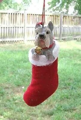 Dog in Stocking SCHNAUZER Dog Breed Resin Christmas Ornament CLEARANCE