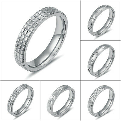 316L Stainless Steel Silver Round Rings Wedding Bands Men/Women 4MM Size 6-11