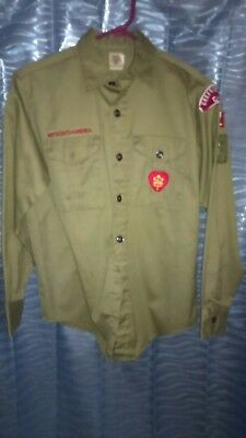 LOT of 5 VTG Green Boyscout Shirts with 1969 Jamboree Patches Boy Scout