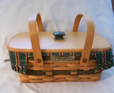 Longaberger 1996 Christmas Holiday Cheer Basket Combo With Lid