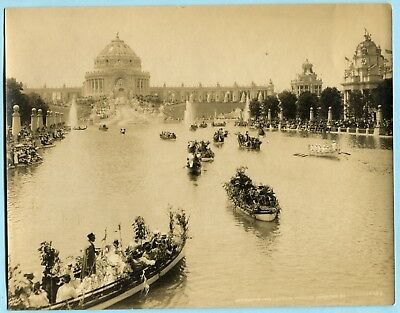 Orig 7x9 Official Photo * 1904 World's Fair LAGOON BOATS at FESTIVAL HALL