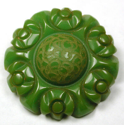 "BB Vintage Bakelite Button Chunky Jade Green Carved Flower 1 & 7/16"" Nice!"