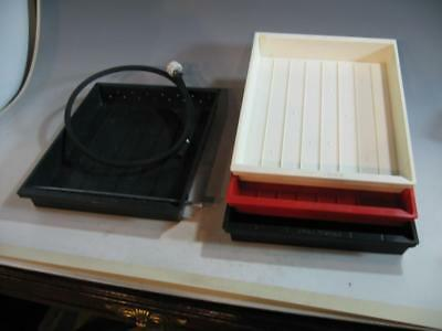 3 - 11 X 14 Darkroom Developing Trays & 1 - Rinse Tray & Hose - Made In USA