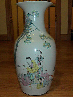 "Late 19th-Early 20th C Antique Chinese Oriental 18"" Vase-Signed"