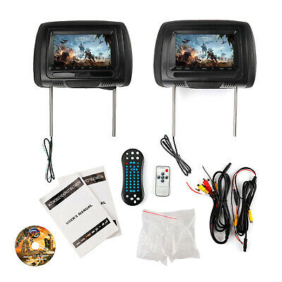 "2 X 7"" HD Coche Digital Pantalla Video Reposacabezas DVD Player HDMI Game USB Tv"