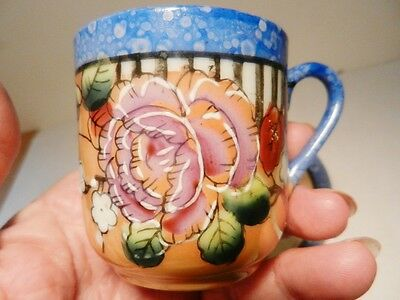 Handpainted Beaded Flowers~Peach Lustre Demitasse Cup & Saucer-Blue Rim-Japan