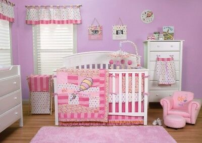 Trend Lab 30365 Dr. Seuss Pink Oh The Places Youll Go - 3 Piece Crib Bedding Set