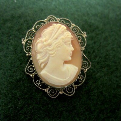 Antique Sterling Silver Filigree Carved Shell Cameo Brooch Pin Pendant