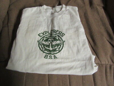 Explorers BSA 1940-50's T-Shirt, White, Boy's Size Small   eb16
