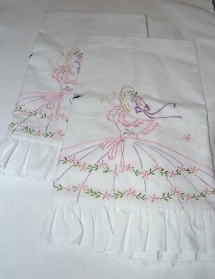 2  New SOUTHERN BELLE w/bu HAND EMBROIDERED RUFFLED SKIRT STANDARD Pillow Cases
