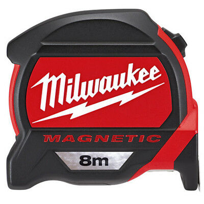 Milwaukee 4932464177 8m Premium Pro Magnetic Tape Measure With Finger Stop