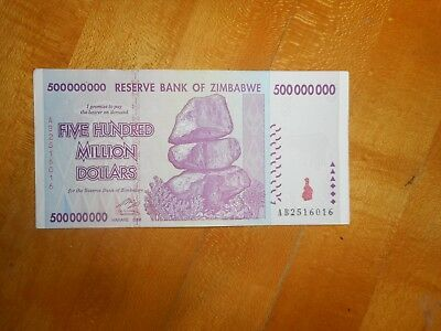 paper money Zimbabwe 500 Million Dollars ( 500,000,000 ) 2008, Circulated