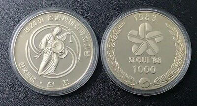"""South Korea 1000 Won """" Drummer"""" Olympic Seoul '88 1983 Coin Proof Unc"""