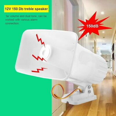150dB 12V Loud Alarm Siren Horn PA Speaker Home Security System Outdoor Warning