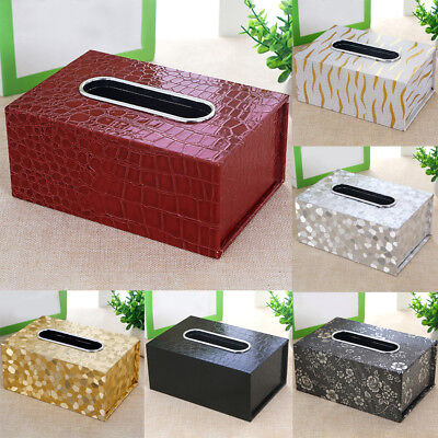 AU Tissue Box Holder Cover PU Leather Napkin Case Table Car Room Office Home