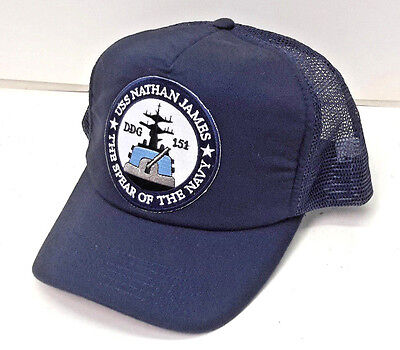 556169450b8 USS Nathan James- Last Ship TV Baseball Trucker Cap Hat- Navy Blue
