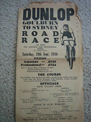 Dunlop Goulburn to Sydney Road Race 1936 Bicycle programme Fold-out scarce OK