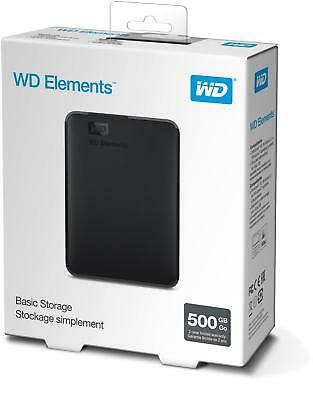 WD Elements 500GB Portable Hard Drive 500GB Capacity Up To 5Gbps Transfer Speed