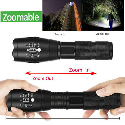Tactical Outdoor LED T6 Lamp Flashlight Torch 50000LM Zoomable 5-Mode 18650 New