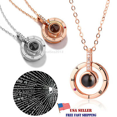 100 Languages Light Projection I Love You Pendant Necklace Lover Jewelry Gifts/B