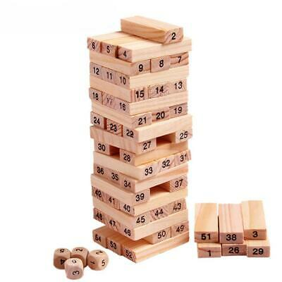54Pcs  Wooden Tower Building Blocks Toy Domino Educational Jenga Game Box Toys